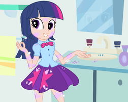 Equestria girls - Twilight Sparkle - shaving time by Qeustruh