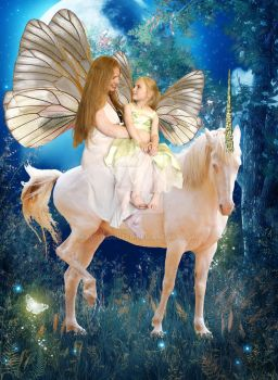 Mother and daughter fairies on a unicorn by moonduster