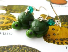 Polymer Clay Turtle Earrings by sagicornDreams