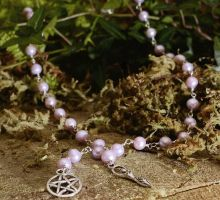 Pink Freshwater Pearls Witch's Ladder with Goddess by EldritchEmporium