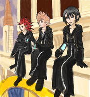 Axel, Roxas and Xion Clocktower by AlSanya