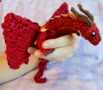 Red and Orange Baby Dragon by CraftyMutt