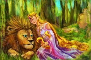 Lion and his Goddess by Jujulica