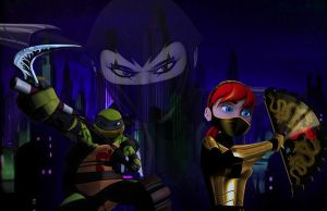 Karai's Foot Clan Members Mikey and April by JasmineAlexandra