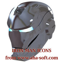 Silver Iron Man Mask Icon by aha-soft-icons