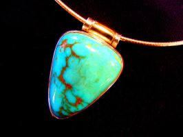Nevada Turquoise in 14k Gold. by jonpalombi