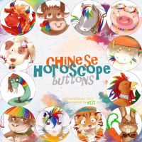 chinese horoscope buttons by faust-sayuri