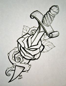 Dagger with rose by knezak