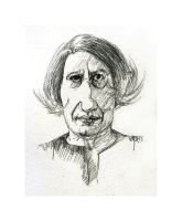 The two inch drawing of Ayn Rand by LevonHackensaw