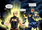 Blue Beetle and Booster Gold meet Power boy by adamantis