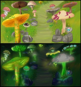 Mushroom Valley Concept - Day and Night by VAFIS