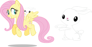 Fluttershy And Angel Flying By Mewtwo EX for us by grandmoonma