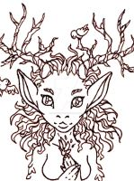 ATC Forest Deer Woman WIP by ImaginaryFox