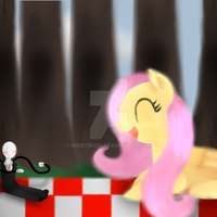 Kindman And Fluttershy Have A Picnic by TheMidnightPuppeteer