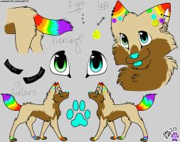 Pixl The Fox Feral Reference Sheet 2015 (UPDATED!) by PixlTheFox