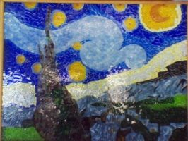 Starry Night Glass mosaic by candy-spazz-tabby