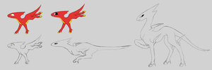 New Fakemon WIP: Pyrejolt Flarevolt and Blazebolt by Suicunesrider