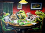 Frogs Playing Poker by tzum