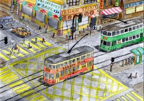 Hong Kong trams by mikopol