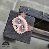 Grumpy cat perler hama beads necklace by zestyden