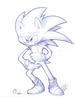 At work drawing 1 SONIC by nightmarn