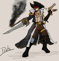 Airship Battles -Character-concept SKETCH- Pirate by yaddar