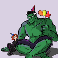 Happy Birthday Hulk and Black Widow (2015) by xxiiCoko