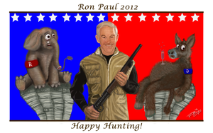 Ron Paul Hunter Cartoon by rwcombs
