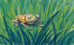 Armored Frog in the Grass by ozwalled