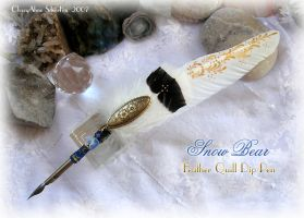 SNOW BEAR Feather Quill Pen by ChaeyAhne
