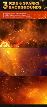 3 Fire and Sparks Backgrounds by valery-medved