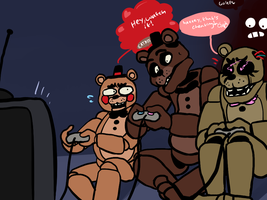 Four Freddys At Night by cakesfunhouse