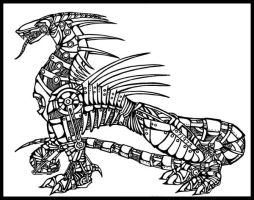 Mechanical Dragon Uncolored by Ruriel