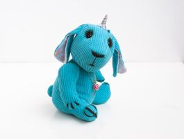 turquoise bunny - unicorn by freedragonfly