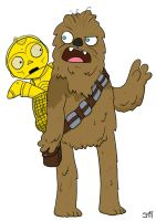 Chewie and C3PO by striffle