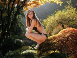 Jessica in the Japanese garden by Accasbel