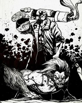 Hellboy vs Lion-O  commission by JordanMichaelJohnson