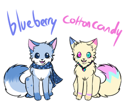 Blueberry and CottonCandy Cat adoptables by Hatchetfishies