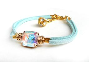 RELIST - Swarovski AB Crystal Light Blue Bracelet by crystaland