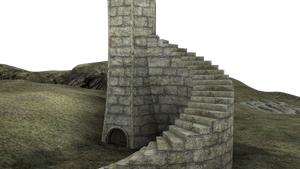 3d Fantasy Castle Stock Parts #7 stairs and land by madetobeunique