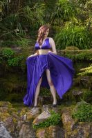 Brunette in purple dress stock 5 by A68Stock