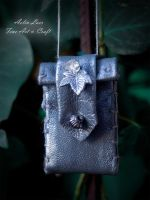 Silver leaf  leather necklace-wallet by Gwillieth