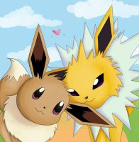 Jolteon And Eevee by mxrshmellow