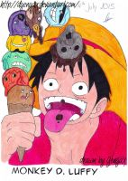 One Piece eating ice cream ~ by DGengax