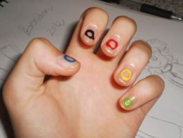 :Nails Art: Olympics Rings by MundienaDog