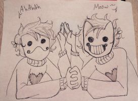 Zacharie: cat and toad by Kitten1love