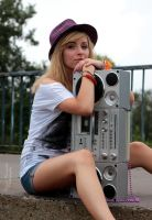 pretty girl with radio by panna-poziomka