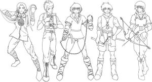 Manga clip art - male warriors by sonialeong