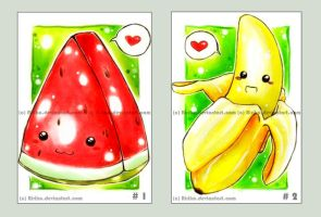 Melon and banana love by Ririko