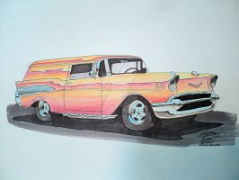 1957 Chevy Sedan Delivery Drawing by prestonthecarartist